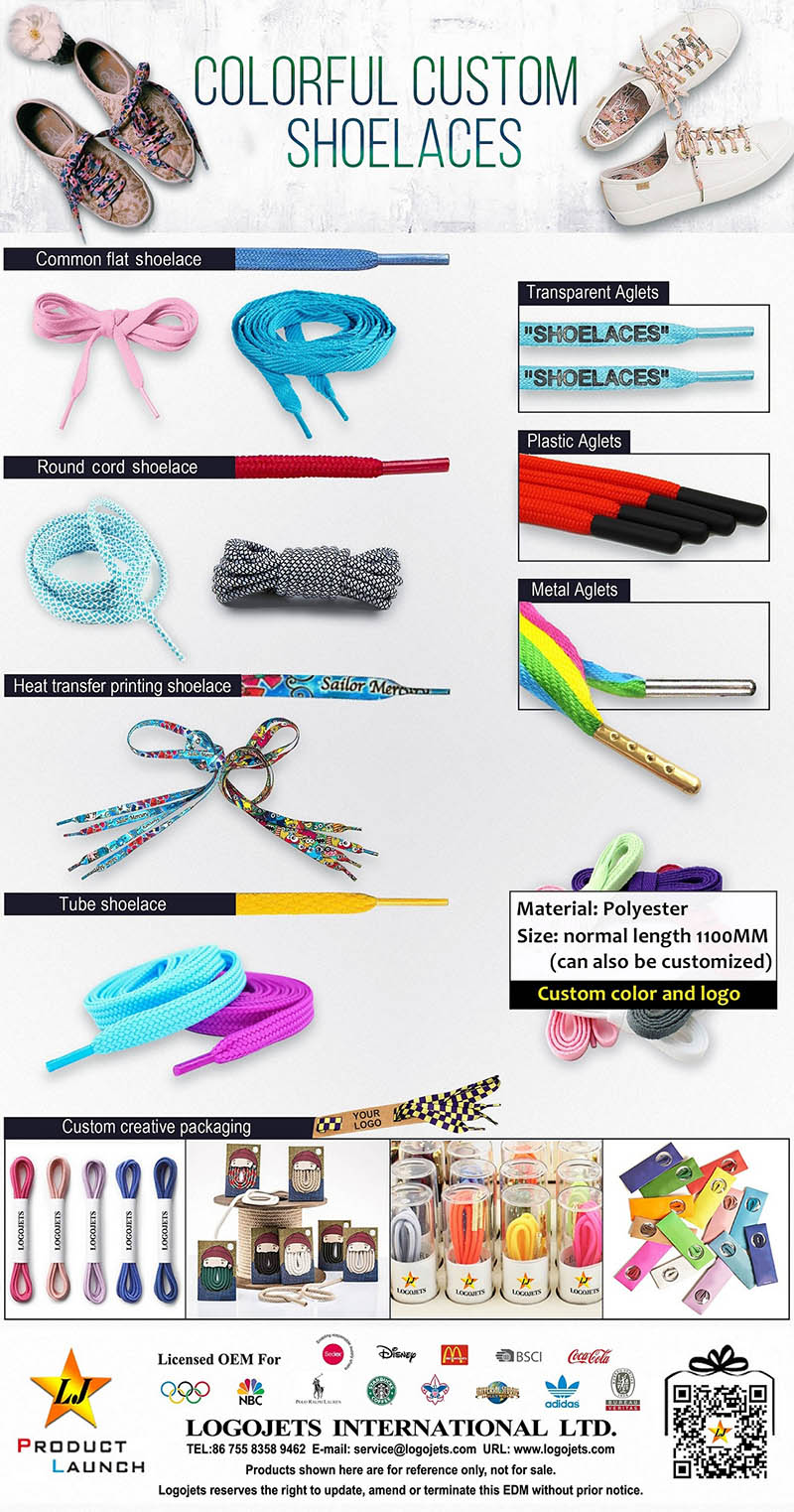 Colorful custom shoelaces